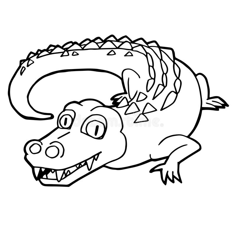 Cartoon Cute Crocodile Coloring Page Vector Stock Vector ...