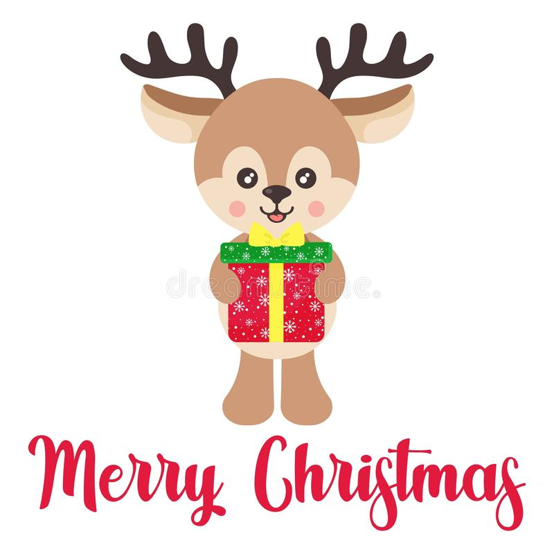 cartoon cute deer vector with christmas gift and text royalty free stock photos