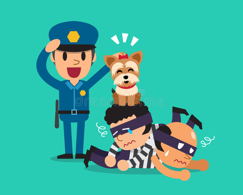 Cartoon a cute dog helping policeman to catch thieves. For design stock illustration