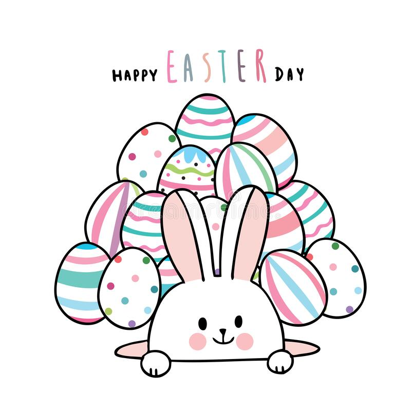 Cartoon cute Easter day rabbit and colorful eggs . royalty free stock photos