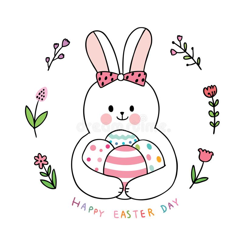 Cartoon cute Easter day rabbit and colorful eggs and flower . royalty free stock images