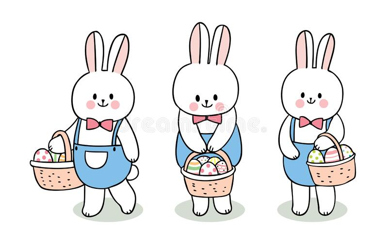 Cartoon cute Easter day rabbits and colorful eggs in basket set . royalty free stock photography