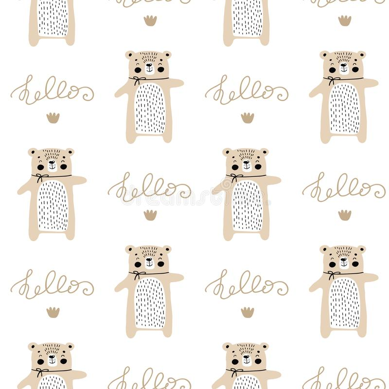Cartoon cute doodle seamless pattern illustration with cute fluffy bear lettering hello. Scandinavian illustration for nursery vector illustration
