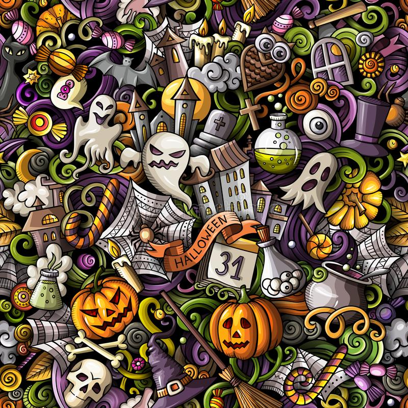 Cartoon cute doodles hand drawn Halloween seamless pattern vector illustration
