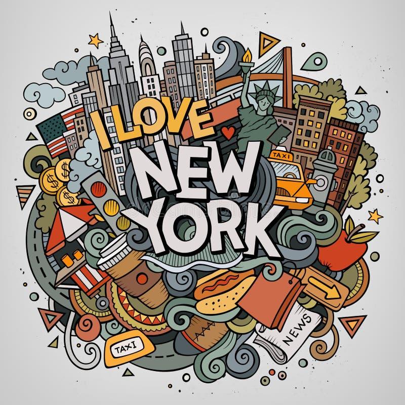 Cartoon cute doodles hand drawn I Love New York inscription stock illustration