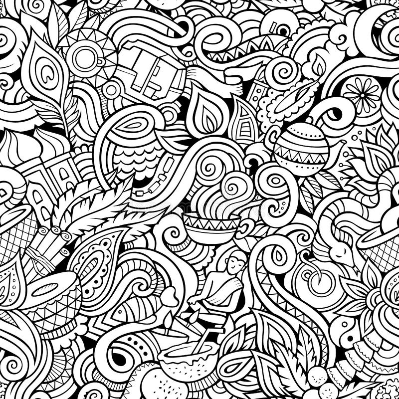 Cartoon cute doodles hand drawn Indian culture seamless pattern. Sketchy detailed, with lots of objects background. Endless funny illustration. Line art royalty free illustration