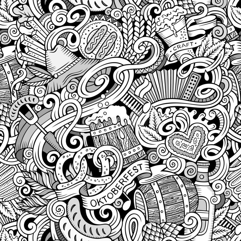 Cartoon cute doodles hand drawn Octoberfest seamless pattern. Line art detailed, with lots of objects background. Endless funny illustration. Contour backdrop royalty free illustration