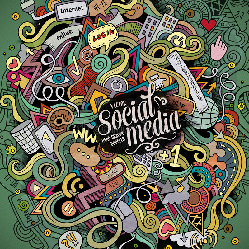 Cartoon cute doodles hand drawn social media illustration. Colorful detailed, with lots of objects background. Funny vector artwork. Bright colors picture with stock illustration