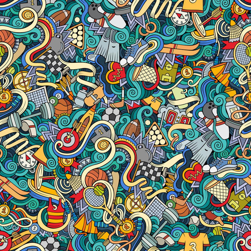 Cartoon cute doodles hand drawn Sport seamless pattern. Colorful detailed, with lots of objects background. Endless funny vector illustration. Bright colors vector illustration