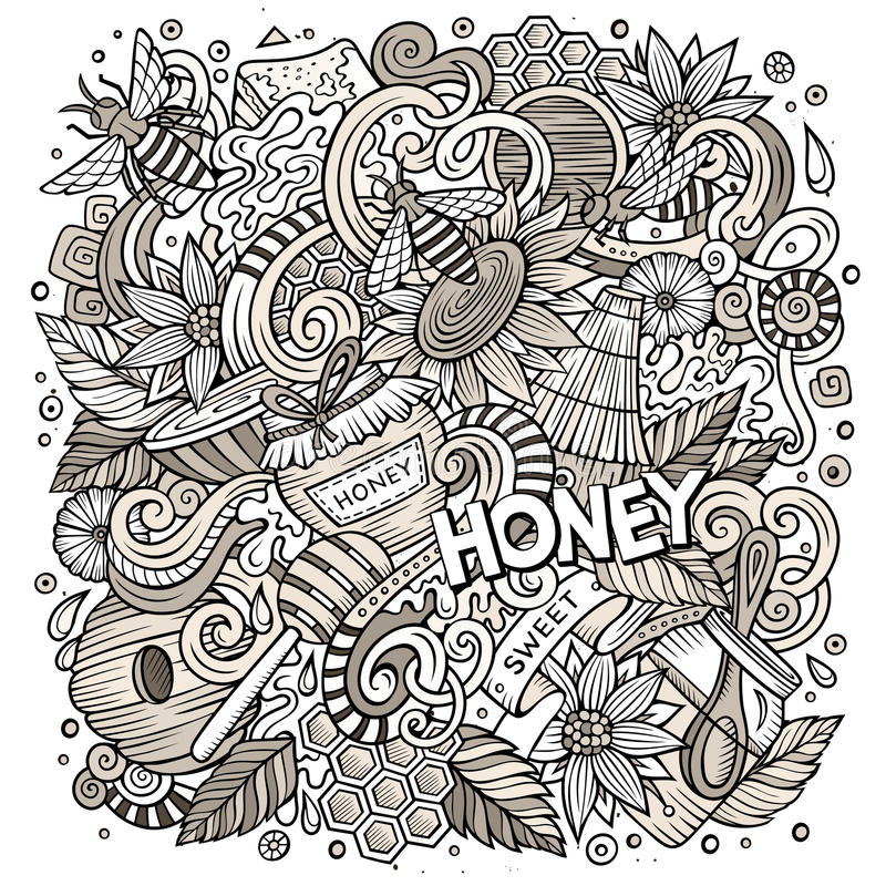 Cartoon cute doodles Honey illustration. Cartoon cute doodles hand drawn Honey illustration. Line art detailed, with lots of objects background. Funny vector vector illustration