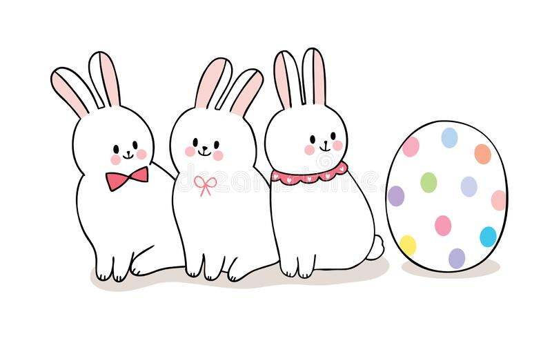 Cartoon cute Easter day rabbits and colorful big egg . royalty free stock photography