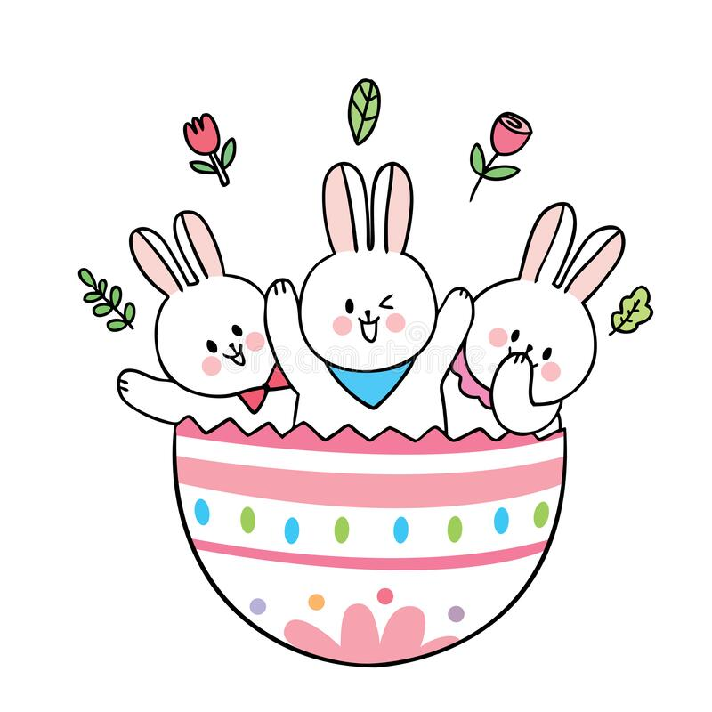 Cartoon cute Easter day rabbits in colorful big egg vector. stock images