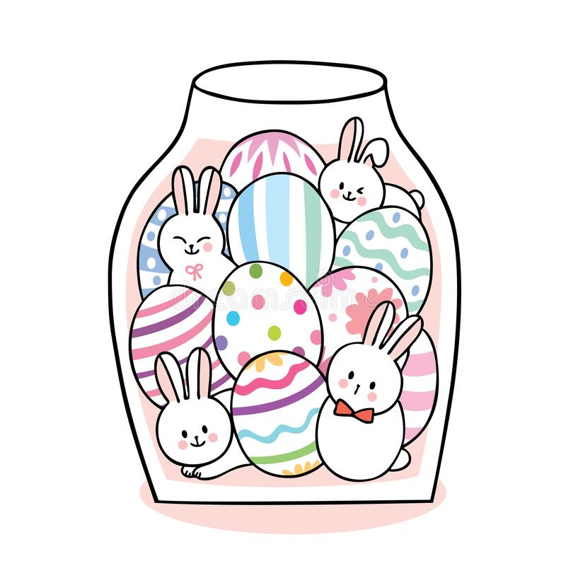 Cartoon cute Easter day rabbits and colorful eggs in bottle . royalty free stock photos