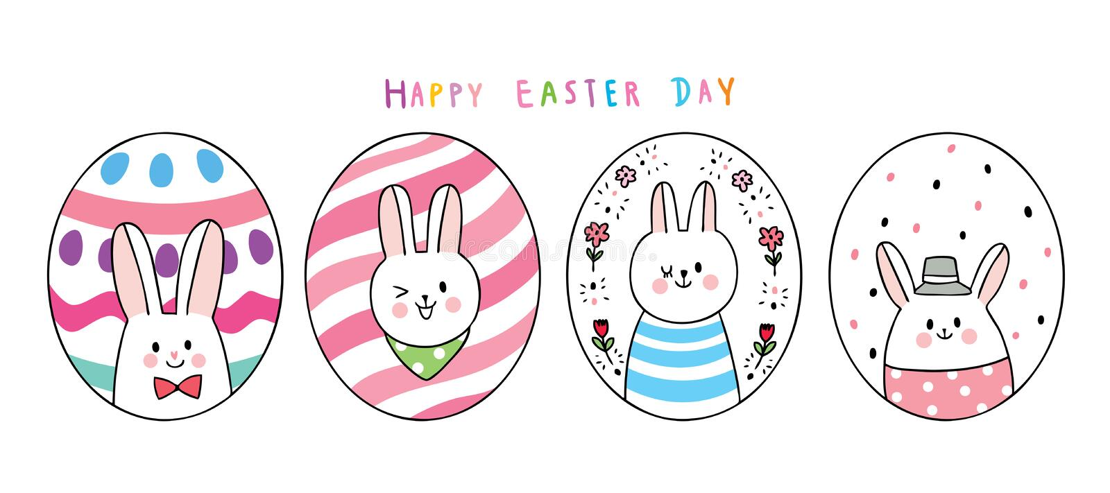Cartoon cute Easter day rabbits and colorful eggs . royalty free stock photography