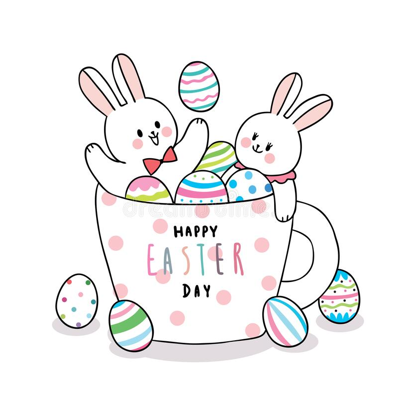 Cartoon cute Easter day rabbits and colorful eggs in a cup coffee . stock image