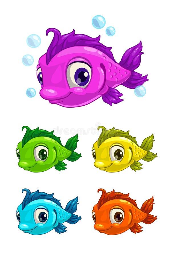 Cartoon cute fish. Different colors, isolated illustration stock illustration