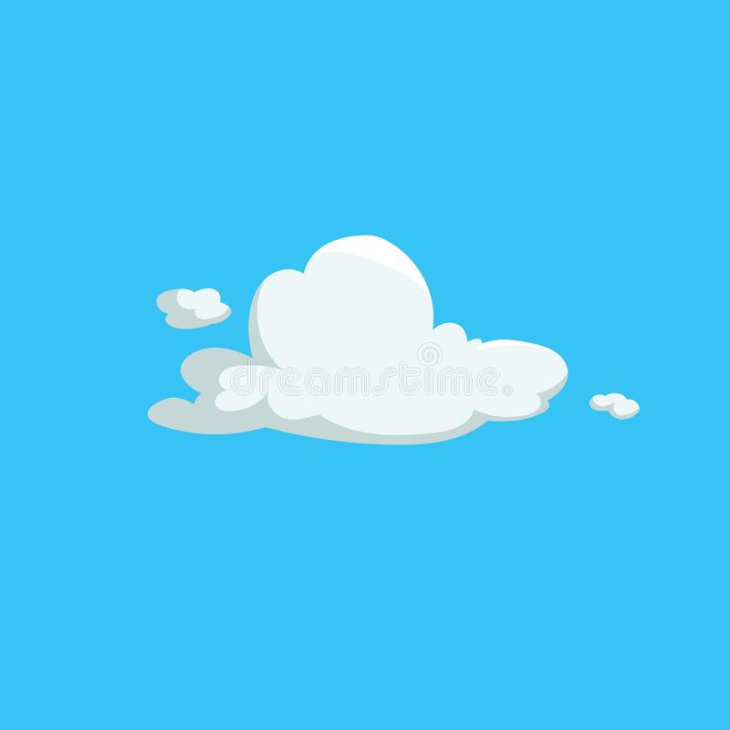 Cartoon cute fluffy clouds trendy design icon. Vector illustration of weather or sky background. royalty free illustration