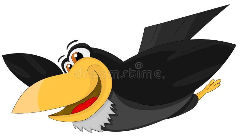 Cartoon cute flying raven royalty free illustration