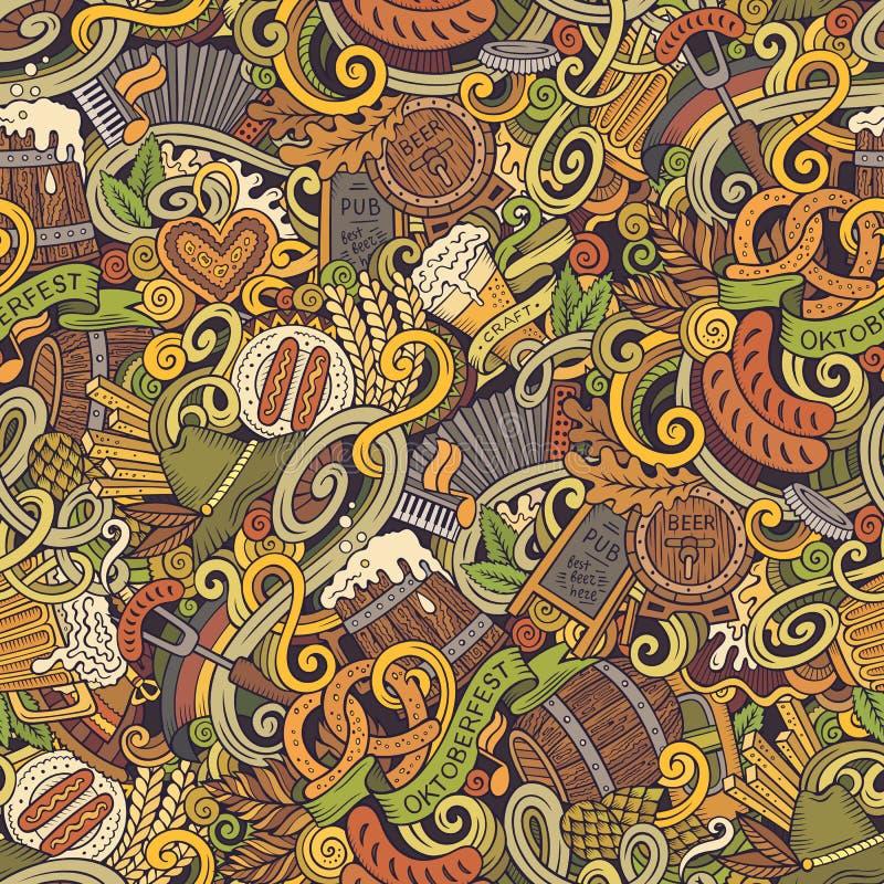 Cartoon cute funny doodles Octoberfest seamless pattern. Cartoon cute doodles hand drawn Octoberfest seamless pattern. Colorful detailed, with lots of objects stock illustration