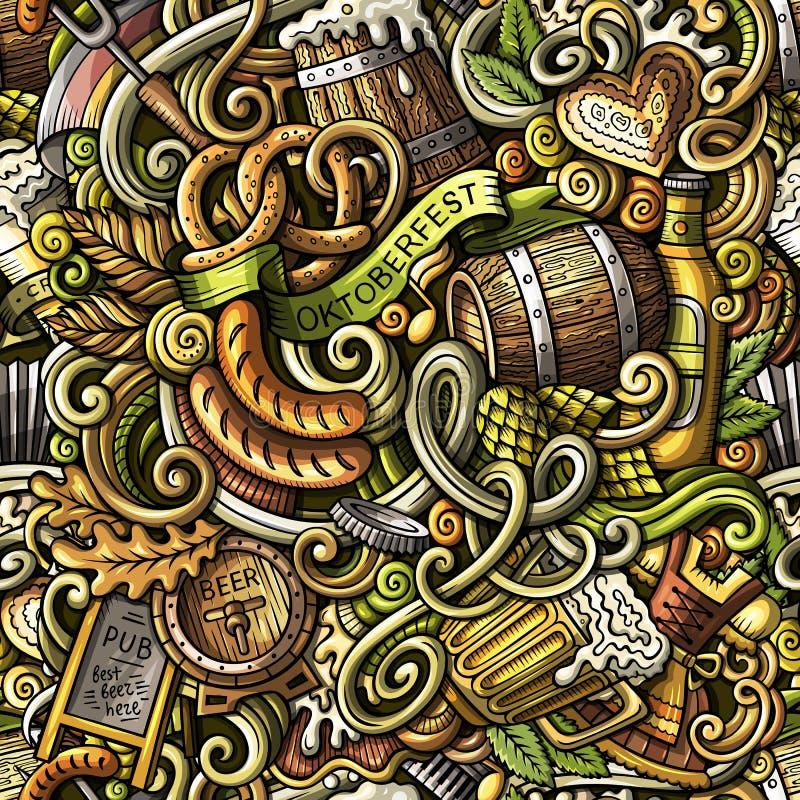 Cartoon cute funny doodles Octoberfest seamless pattern. Cartoon cute doodles hand drawn Octoberfest seamless pattern. Colorful detailed, with lots of objects vector illustration