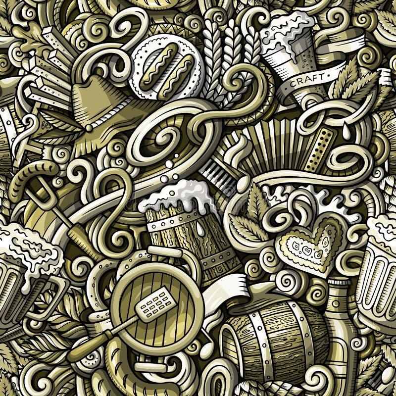 Cartoon cute funny doodles Octoberfest seamless pattern. Cartoon cute doodles hand drawn Octoberfest seamless pattern. Toned detailed, with lots of objects royalty free illustration