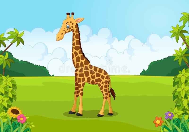 Cartoon cute giraffe posing. Illustration of Cartoon cute giraffe posing royalty free illustration