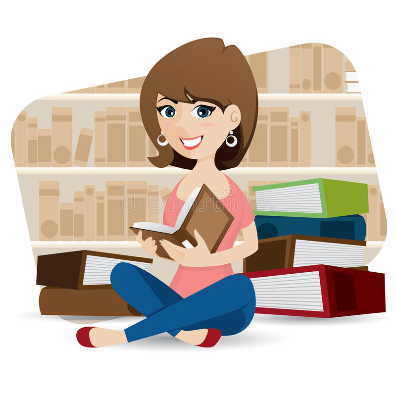 Cartoon cute girl reading book in library vector illustration