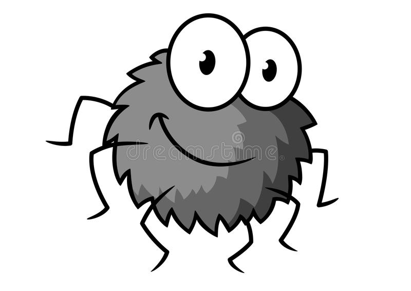 Cartoon cute gray little spider character stock illustration