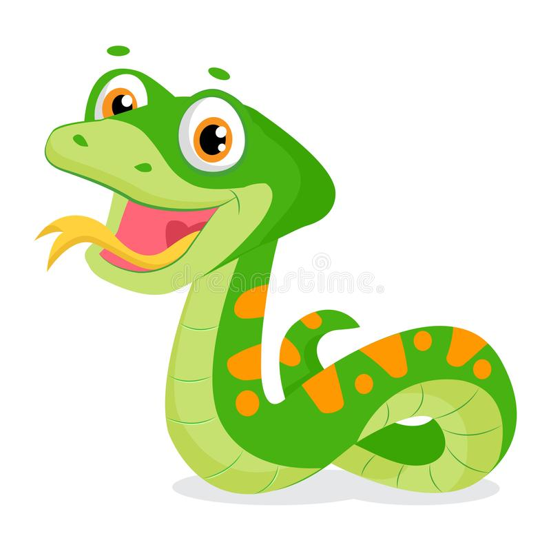 Cartoon Cute Green Smiles Snake Vector Animal Illustration. Cartoon Vector Reptile Isolated On White Background. Non Venomous Snake royalty free illustration