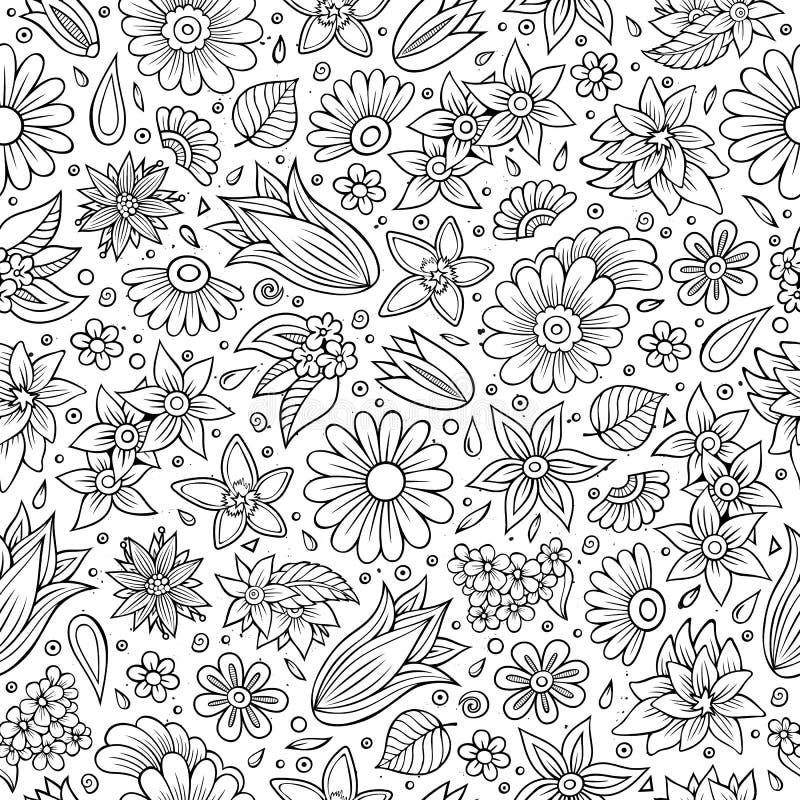 Cartoon cute hand drawn Spring season seamless pattern stock illustration
