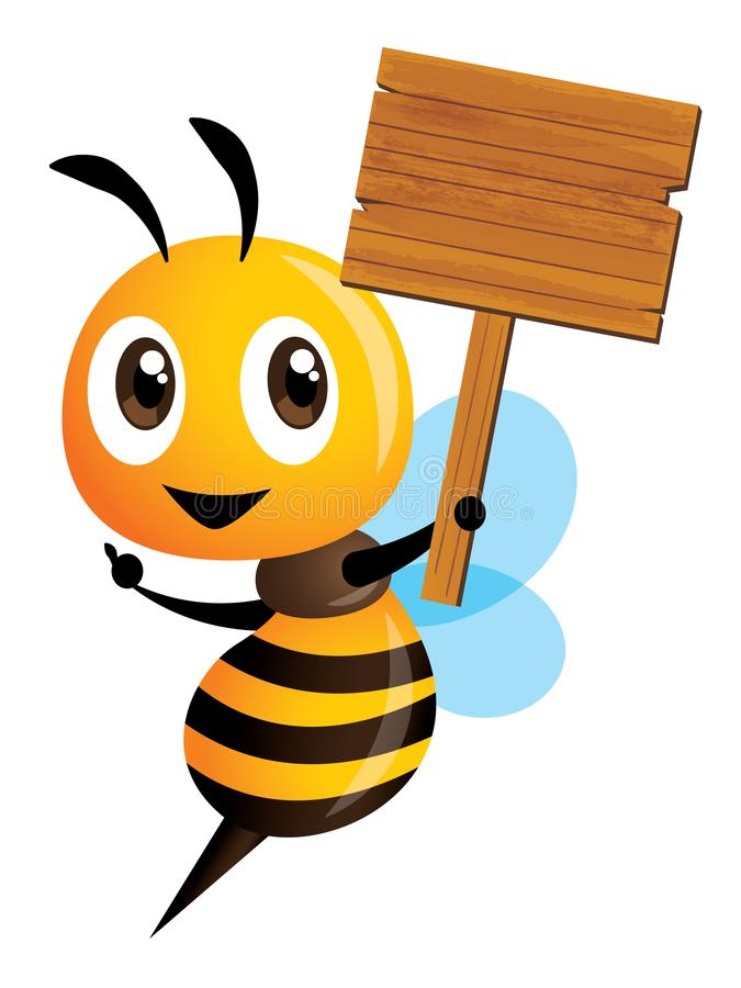 Cartoon cute happy bee character holding a big wooden signboard. Vector mascot isolated vector illustration