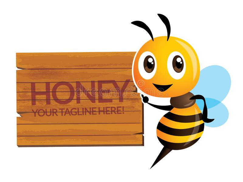 Cartoon cute happy bee character with wording on big wooden signboard. Vector mascot isolated vector illustration