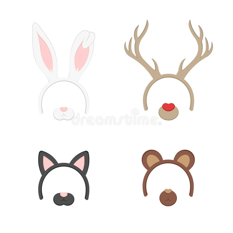 Cartoon Cute Headband with Ears Holiday Set. Rabbit, deer, cat, bear. Flat Design Style. Party Mask Vector illustration. vector illustration