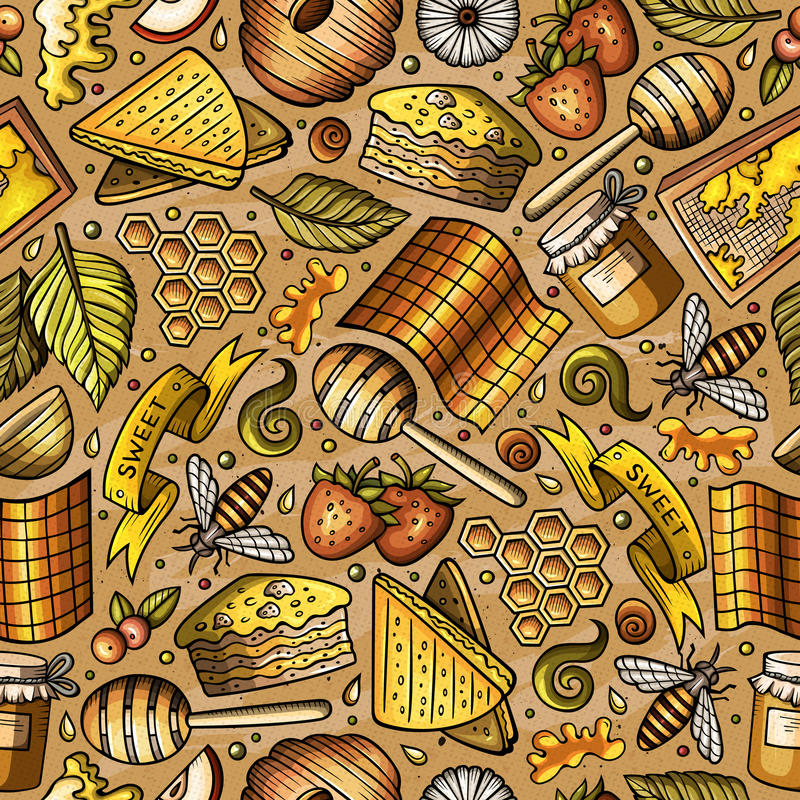 Cartoon cute Honey seamless pattern. Cartoon cute hand drawn Honey seamless pattern. Colorful detailed, with lots of objects background. Endless funny vector stock illustration