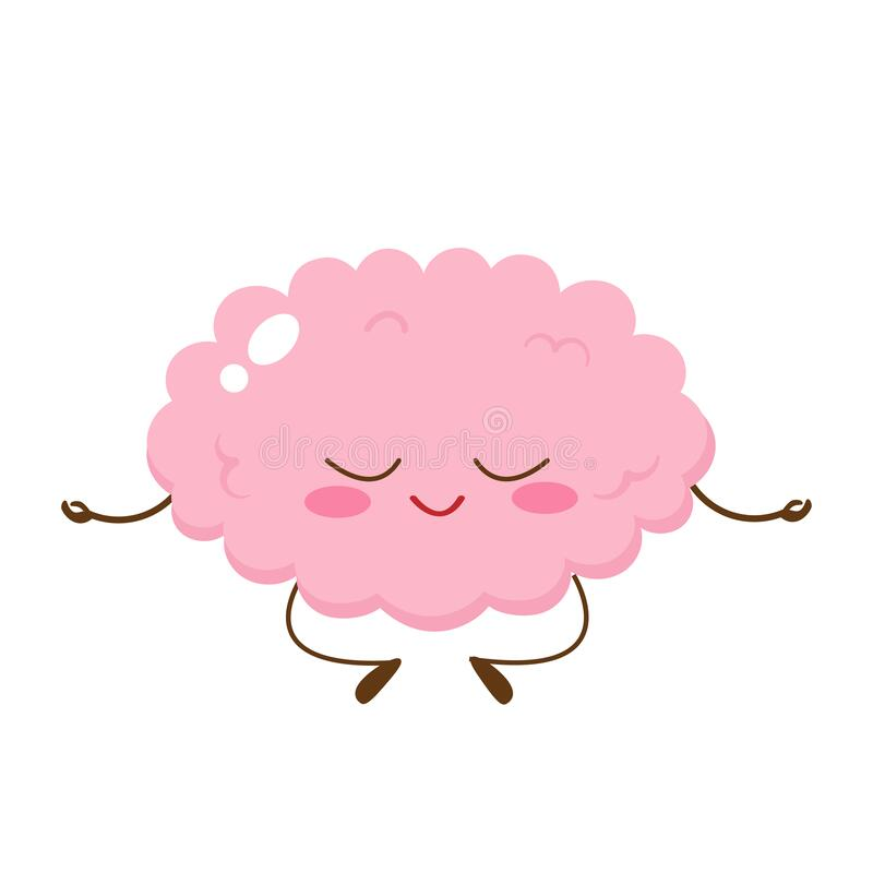 cartoon cute human brain meditating stock vector illustration of kawaii balance 172440792 cartoon cute human brain meditating