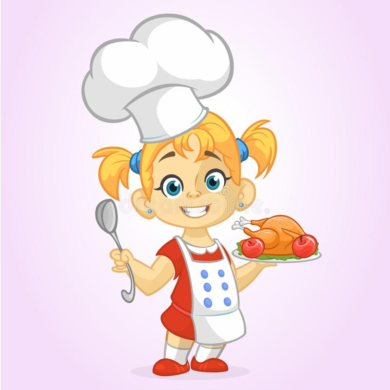 Cartoon cute little blond girl in apron and chef`s hat serving roasted thanksgiving turkey royalty free illustration