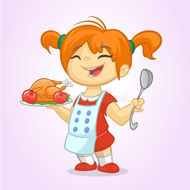 Cartoon cute little blond girl in apron serving roasted thanksgiving turkey royalty free illustration