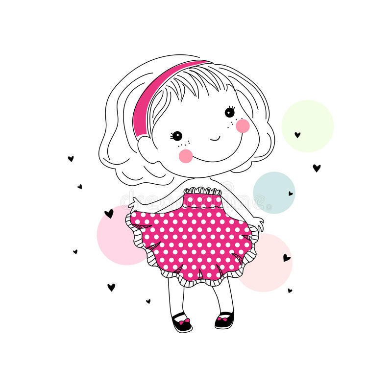 Cartoon cute little girl royalty free illustration
