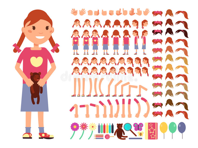 Cartoon cute little girl character. Vector creation constructor with different emotions and body parts royalty free illustration
