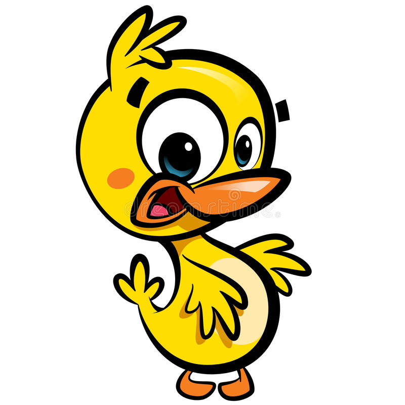 Cartoon cute little smiling baby duck character with black outlines vector illustration