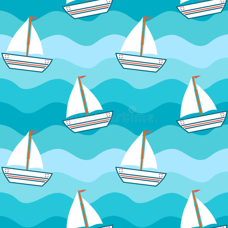 Cartoon cute lovely boat in the sea seamless pattern background illustration royalty free illustration