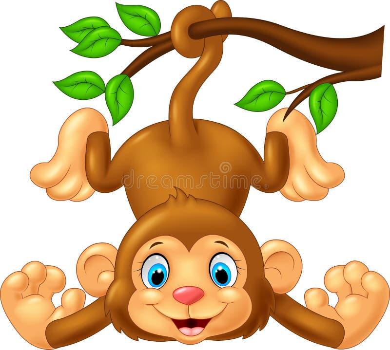 Cartoon cute monkey hanging on tree branch stock illustration