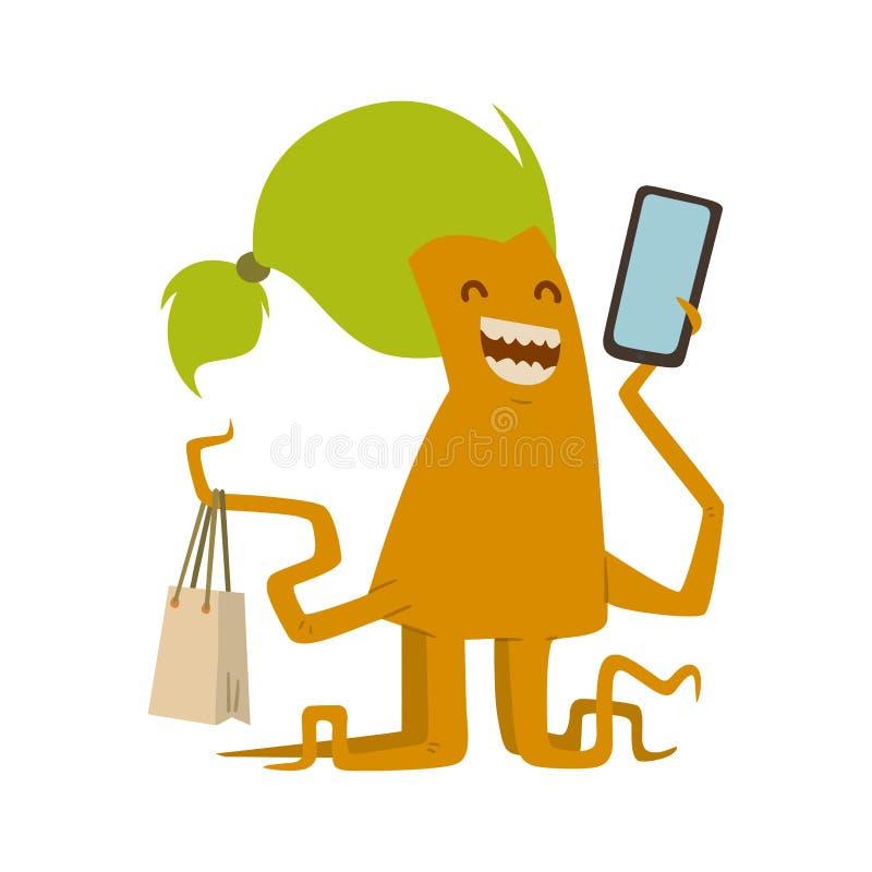 Cartoon cute monster shopping vector character illustration. vector illustration