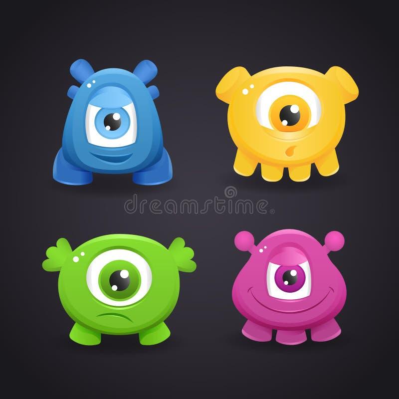 Cartoon cute monsters stock illustration