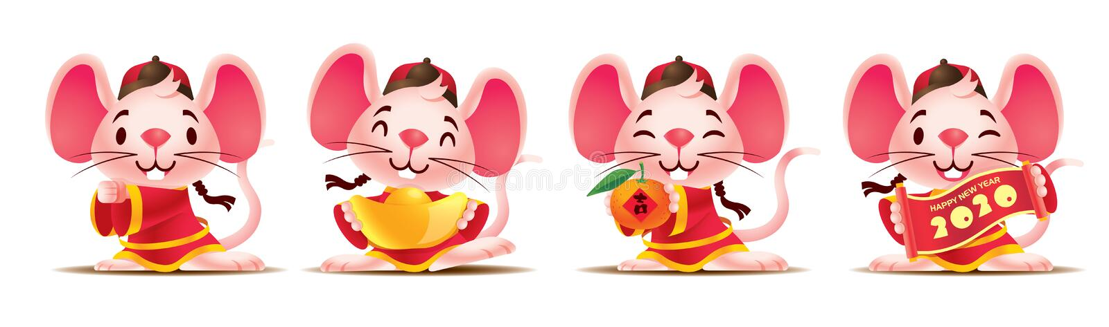 Cartoon cute mouse set with traditional chinese costume. Cute rat with golds / red scroll / mandarin orange. Chinese New Year 2020. The year of rat vector illustration