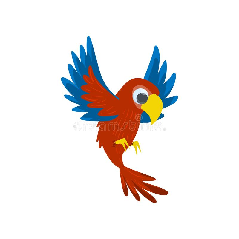 Big red flying parrot isolated on white background. Front view stock illustration