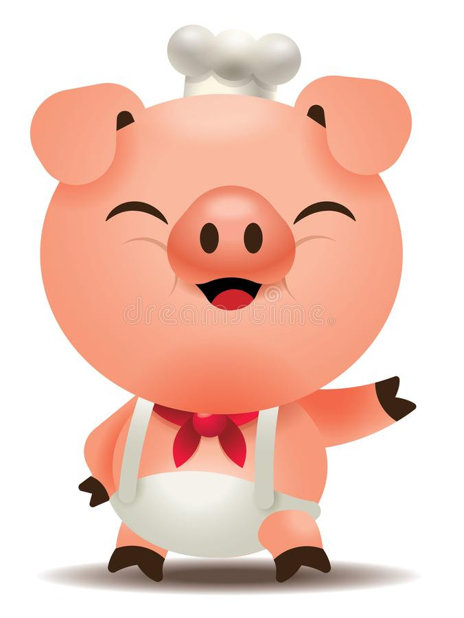Cartoon cute pig chef character welcome you with smiling face. Vector mascot stock illustration
