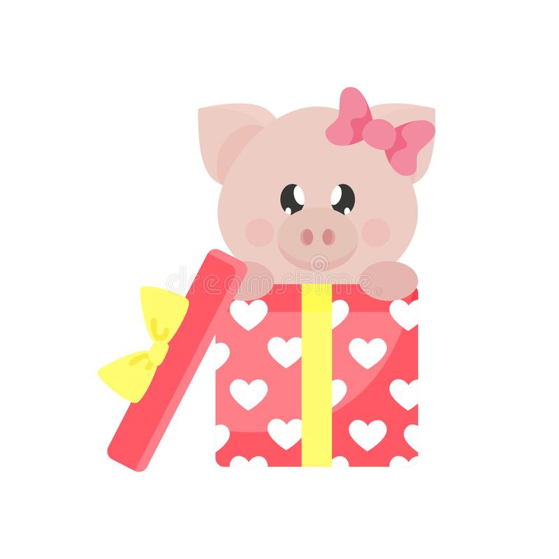Cartoon cute pig girl with bow and lovely ballons. Vector image of a cartoon cute pig girl with bow and lovely ballons vector illustration