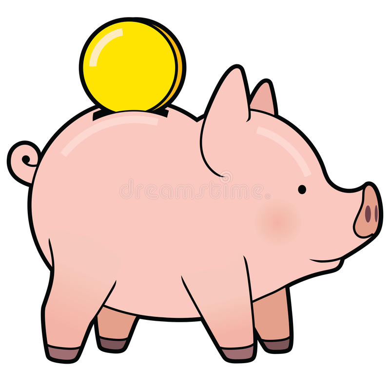 Cartoon Cute Piggy Bank With Golden Coin Vector Stock