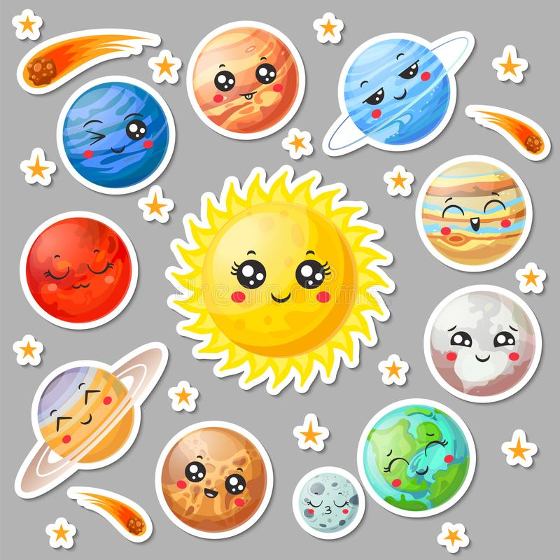 Cartoon cute planets stickers. Happy planet face, smiling earth and sun. Astronomy solar system sticker vector stock illustration